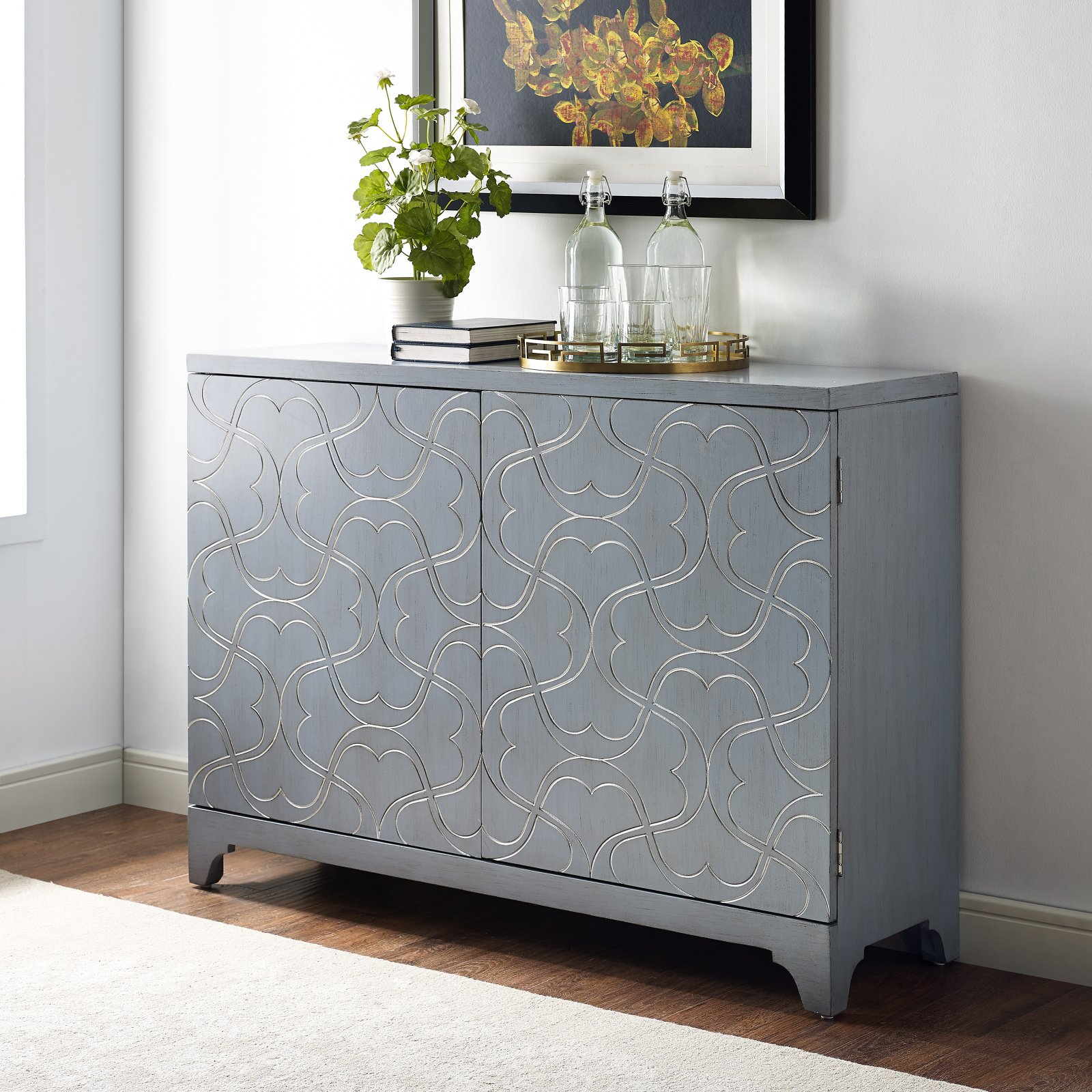 Modern Influenced Two Door Accent Bar Cabinet with Ornate Overlay Carving