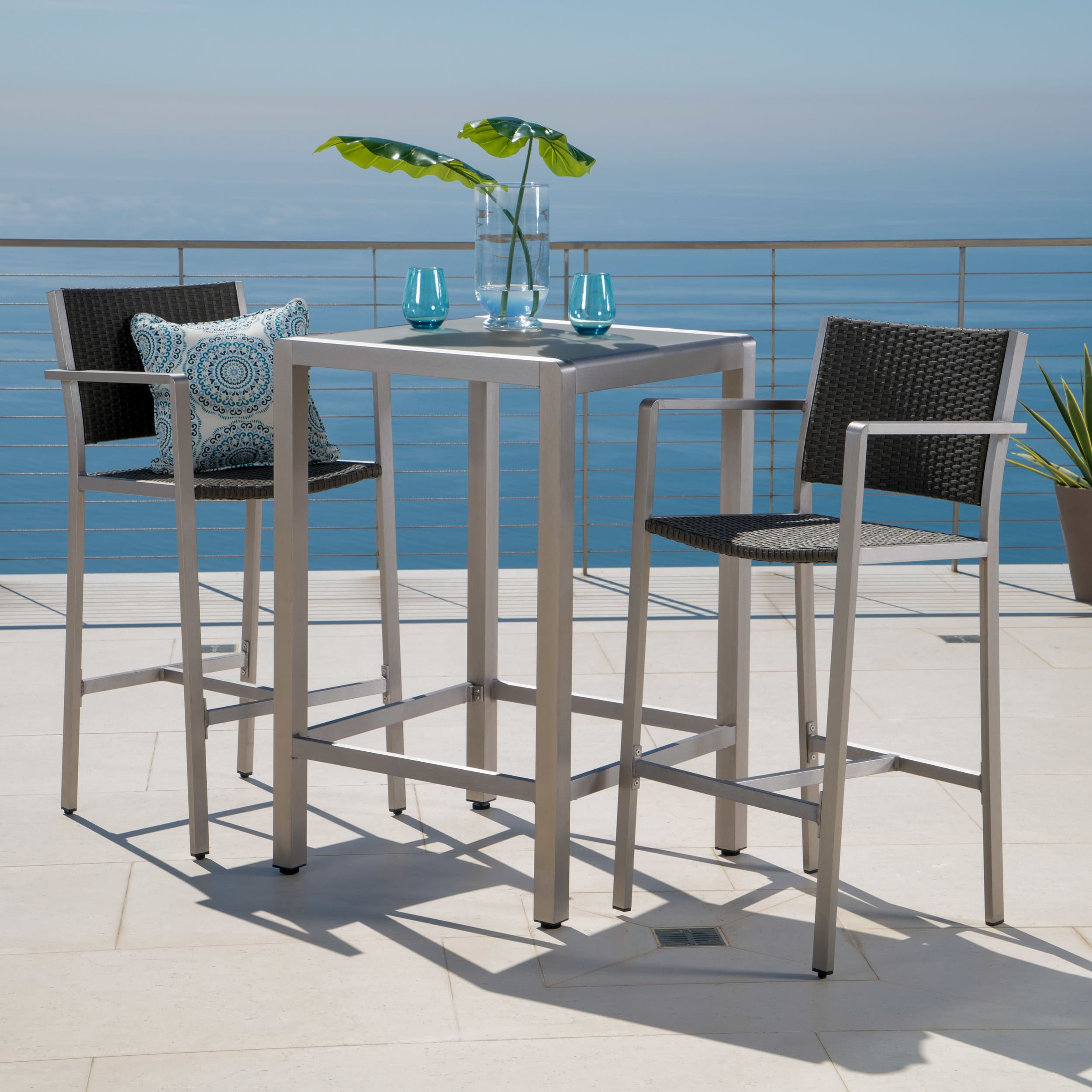 Christopher Knight Home Cape Coral Outdoor 3-piece Bar Set with Glass Table Top by