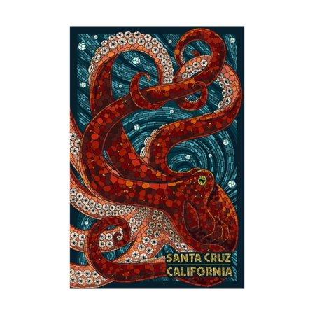 santa cruz california octopus mosaic print by lantern press