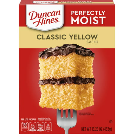 (2 pack) Duncan Hines Classic Yellow Deliciously Moist Cake Mix, 15.25 oz Low White Cake Mix