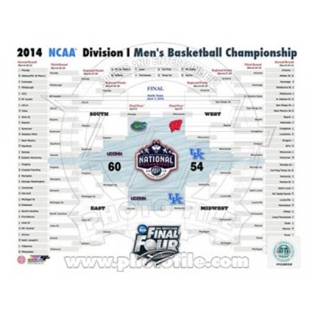 - University of Connecticut Huskies 2014 NCAA Mens College Basketball National Champions Bracket Sports Photo