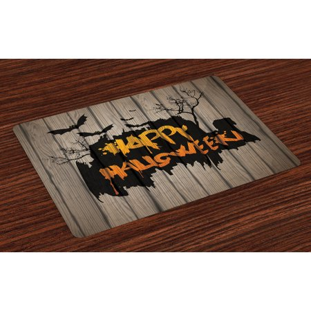 Halloween Placemats Set of 4 Happy Graffiti Style Lettering on Rustic Wooden Fence Scary Evil Holiday Artwork, Washable Fabric Place Mats for Dining Room Kitchen Table Decor,Multicolor, by Ambesonne (Halloween Placemats Target)