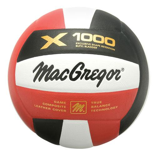 MacGregor X1000 Composite Volleyball-Color:Scarlet/White/ Black
