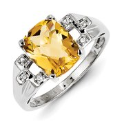Sterling Silver with Citrine and White Topaz Oval Ring