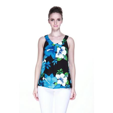 Aloha Fashion Women's Hawaiian Floral Tank Top in Black with Blue -