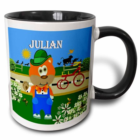 3dRose Decorative Bear Wearing Overalls with the name Julian - Two Tone Black Mug, 11-ounce ()