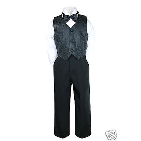Baby Infant Boy Toddler Baptism Formal Wedding Vest Suit Black S M L XL 2T 3T 4T - Baby Boy Infant