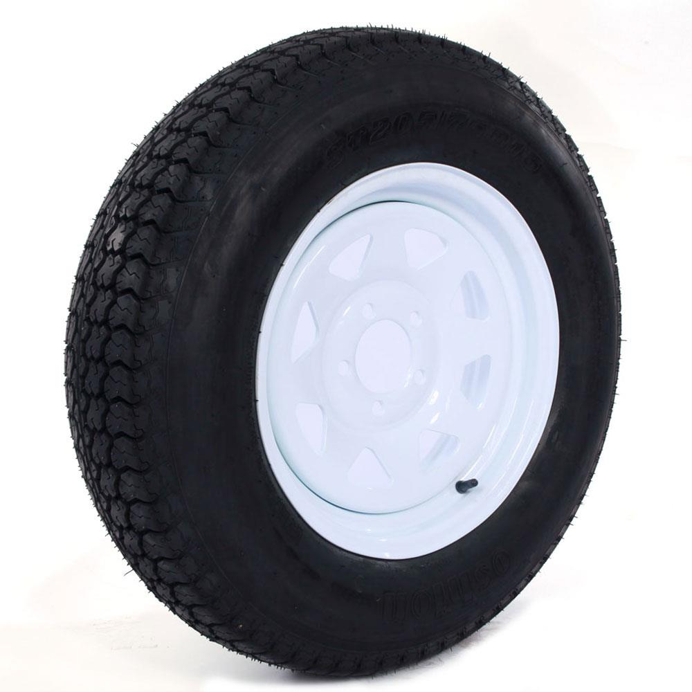 "Ktaxon Trailer Tires & Rims ST205/75D15 F78-15 205/75-15 15"" LRC 5 Lug White Spoke New"