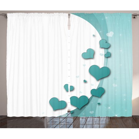 Turquoise Decor Curtains 2 Panels Set, Valentines Day Romance Art With  Hearts Stars Wedding Happiness Theme, Living Room Bedroom Accessories, By  ...