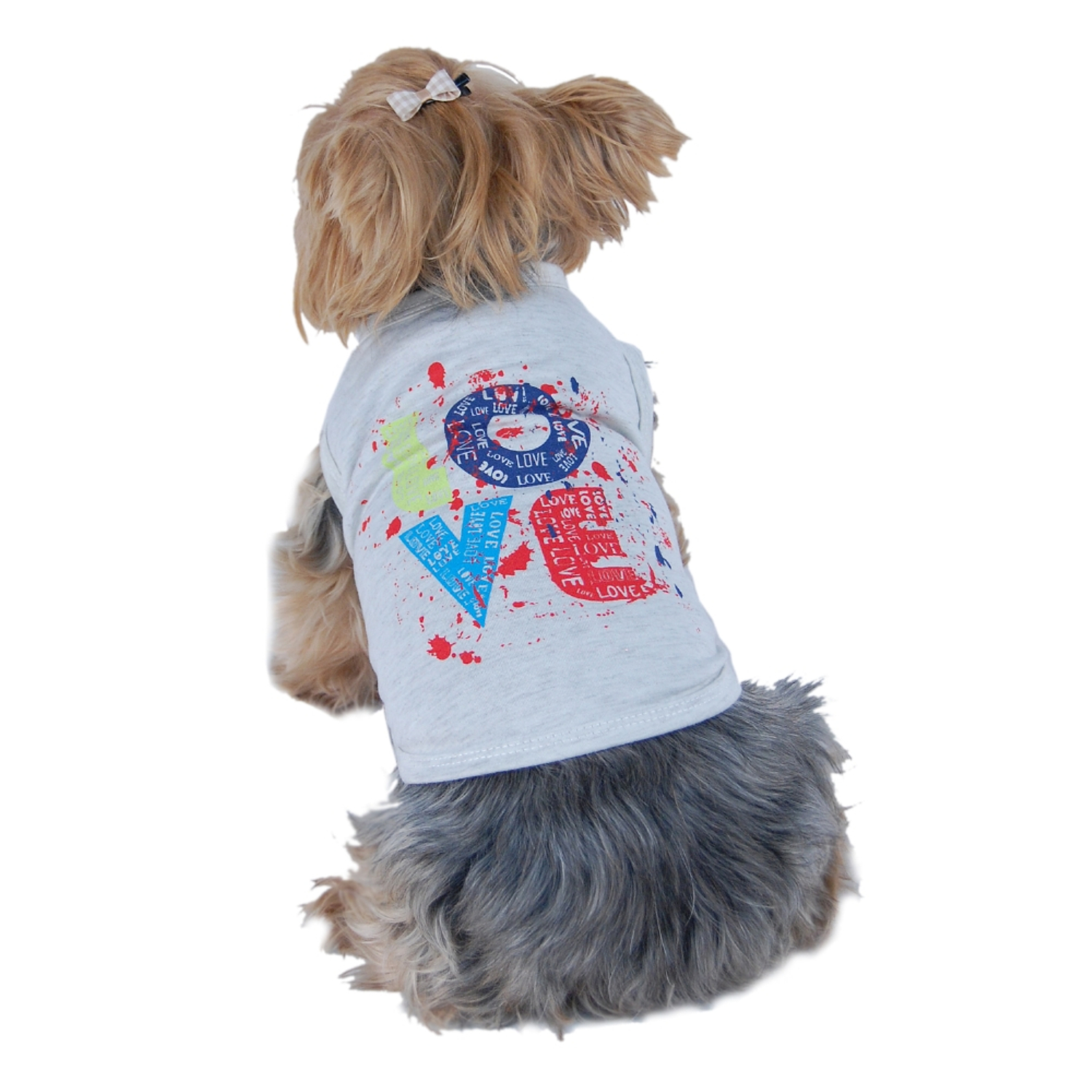 Gray Colorful Love Graffiti Soft Tee For Dog Clothing Clothes - Extra Small (Gift for Pet)