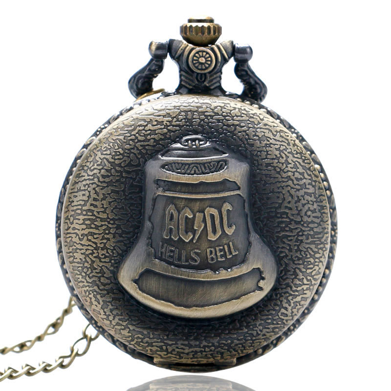 Unique AC DC Hells Bell Pattern Pocket Watch for Men, Bronze Necklace Pendant Pocket Watch for Women, Antique Steampunk Pocket Watch Gift for Boy