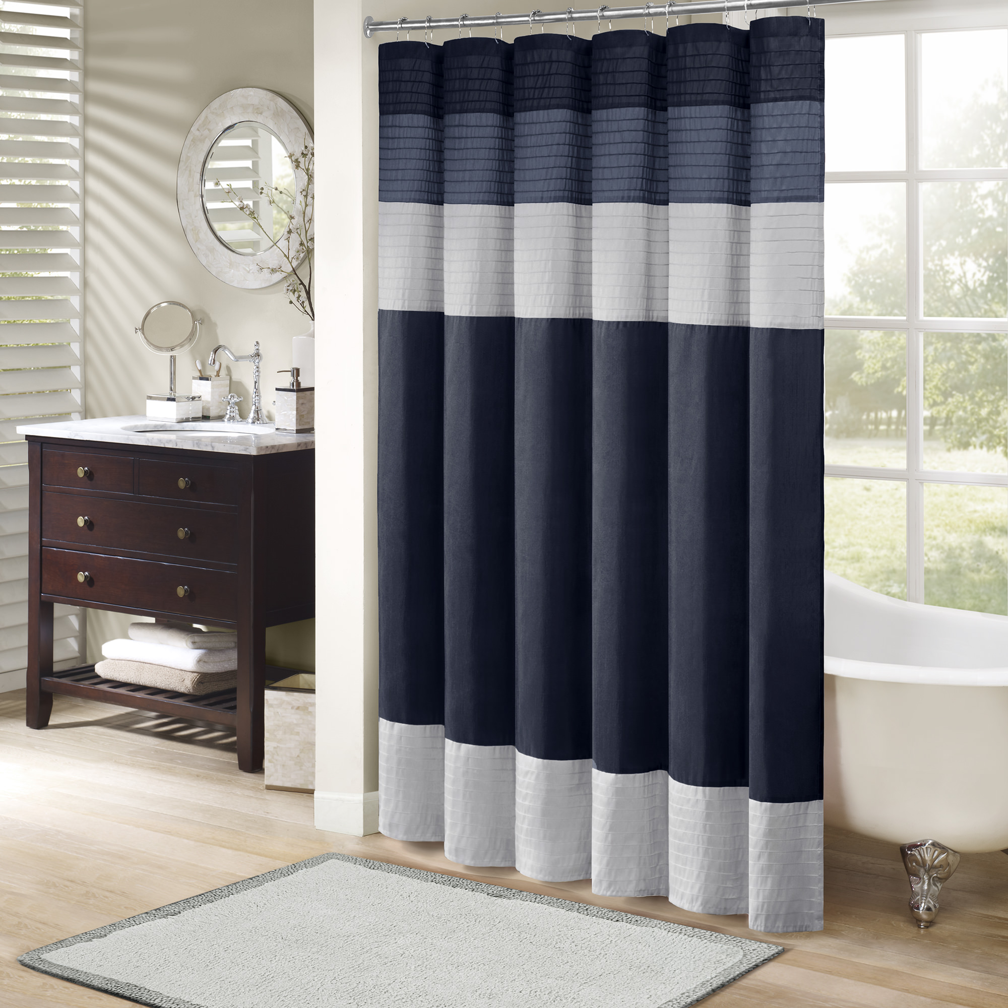 Home Essence Salem Pieced Faux Silk Shower Curtain