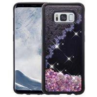 Samsung Galaxy S8 Bling Liquid Glitter Case, Sparkle Quicksand Case Cover - Purple Lace