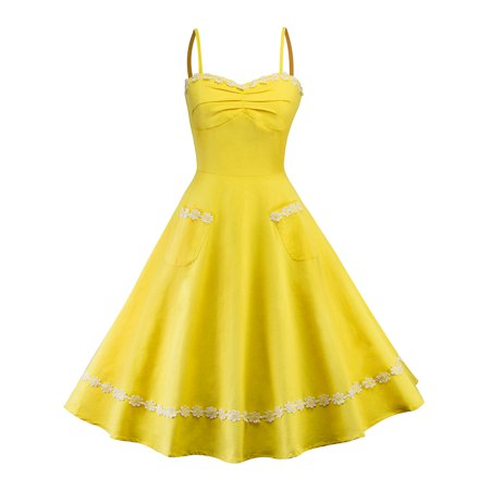 Women Vintage 50s 60s Spaghetti Strap Hepburn Dress Retro Swing Formal Cocktail Evening Party Rockabilly Casual Dresses - 60s Dress Up