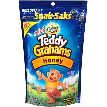 (2 Pack) Nabisco Teddy Grahams Mini Honey Maid Graham Snacks Honey, 8.0 OZ