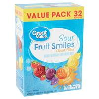 Great Value Sour Liquid Filled Fruit Smiles Pouches, 32 Count