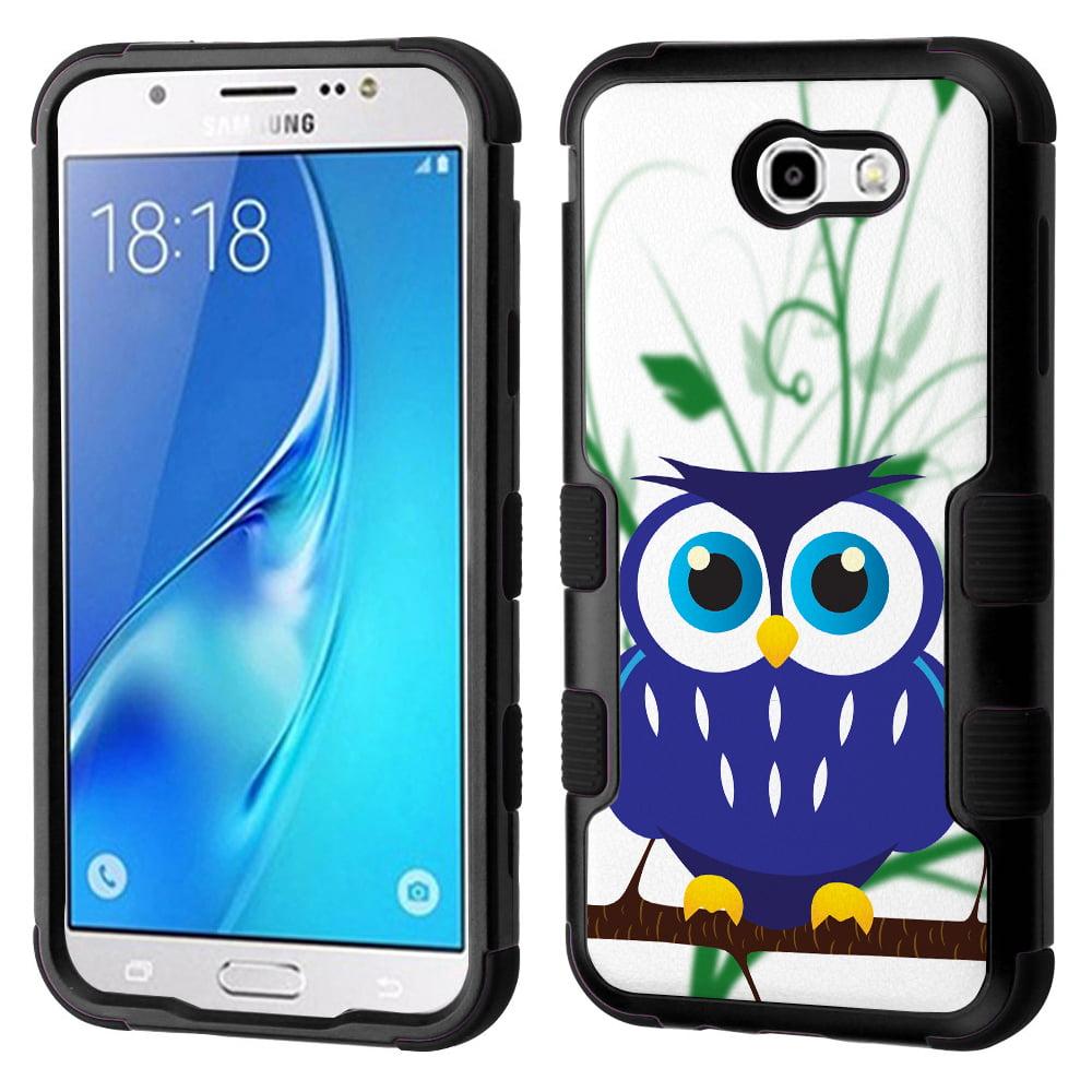 3-Layer Case for Samsung Galaxy J7 V / J7 Perx / J7 Sky Pro, OneToughShield ® Hybrid Phone Case (Black/Black) - Blue Owl