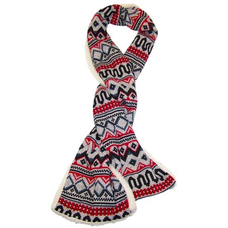 Best Winter Hats Womens Abstract Jacquard Design Warm Plush Scarf (One Size) - Red/Gray