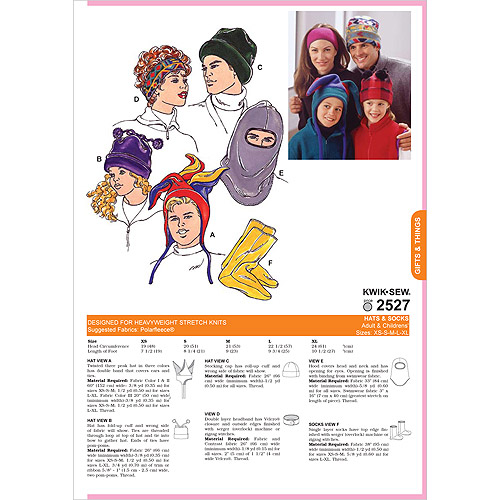 Kwik Sew Pattern Hats and Socks (Adult and Children sizes), (XS, S, M, L, XL)