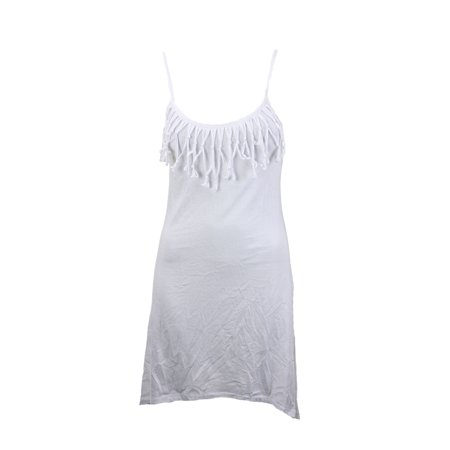 Miken Swim White Fringed Cover Up Tank Dress L (Dress Up Ideas Starting With L)