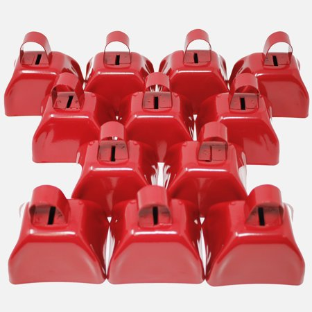 Fun Central (BC871) 12 pcs 3 Inch Red Metal Cowbell, New Year Party Noisemaker, Fun Christmas and New Year Decorations - Spirit Cowbells