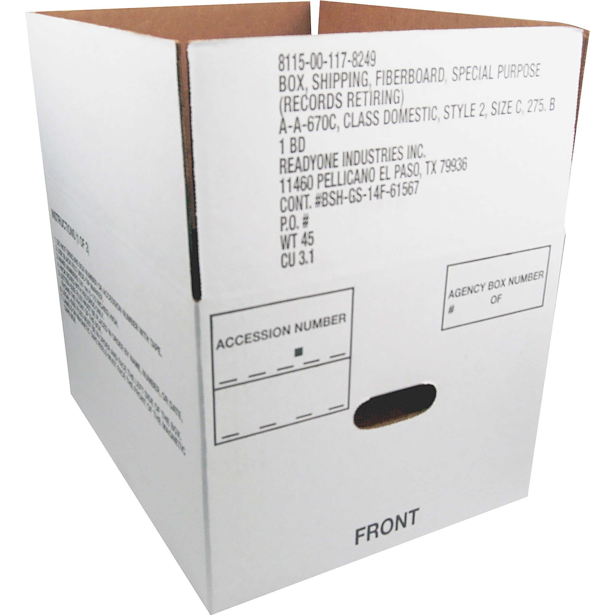"Skilcraft Storage Box, Fiberboard, 12""x14-3/4""x9-1/2"", 25/CT, White 1178249"