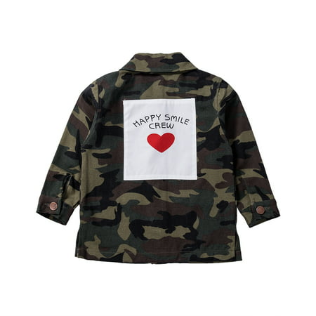 Baby Girls' Outerwear Jackets Camouflage Letters Print Coat Winter/Fall/Spring Denim Jacket 2-8 Y thumbnail