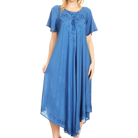 Sakkas Lilia Embroidered Lace Up Bodice Relaxed Fit Maxi Sun Dress - Blue - One Size Regular
