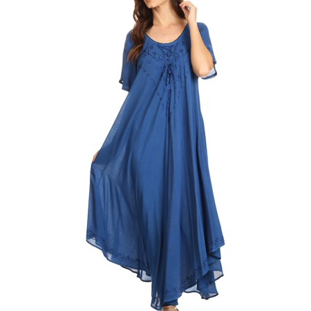 Button Bodice (Sakkas Lilia Embroidered Lace Up Bodice Relaxed Fit Maxi Sun Dress - Blue - One Size Regular )