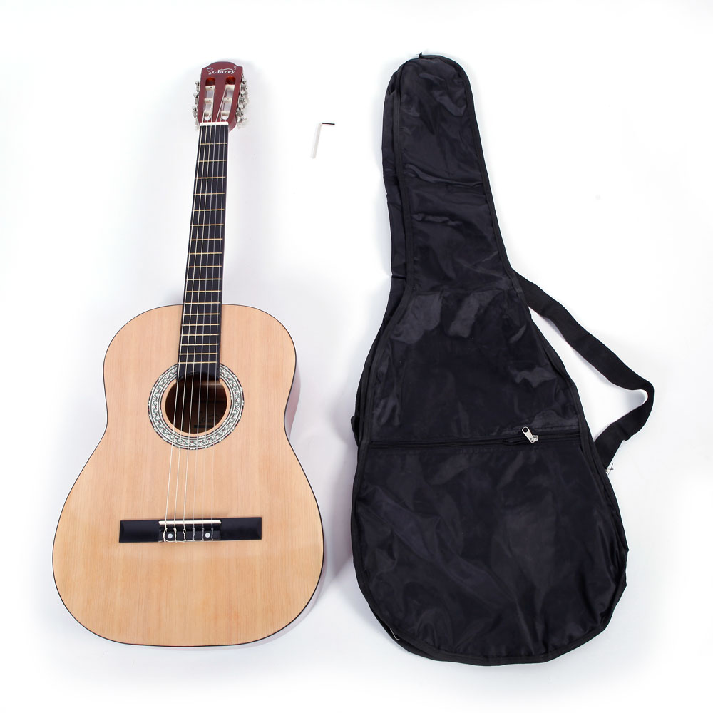 Ktaxon GT303 38 inch Spruce Front Cutaway Classic Guitar with Bag & Wrench Tool Glossy Edge Burlywood Color
