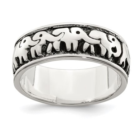925 Sterling Silver Elephants Band Ring Size 7.00 Animal Gifts For Women For Her (Elephant Rings For Women)