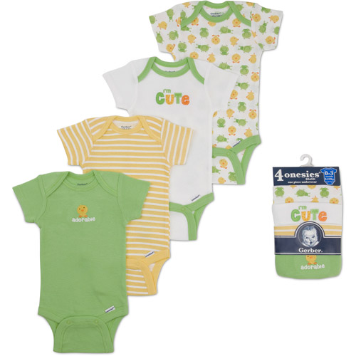Gerber Newborn Baby 4-Pack Short Sleeve Bodysuits