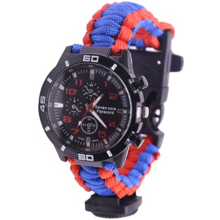 5 in 1 Outdoor Survival Watch Paracord Bracelet with Compass/Fire Starter/Whistle/Paracord Emergency Survival Tool