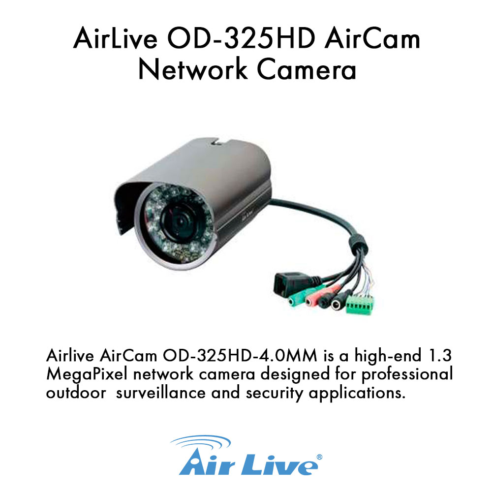 Airlive AirCam OD-325HD H.264 MegaPixel Outdoor 25M IR Night vision POE Camera