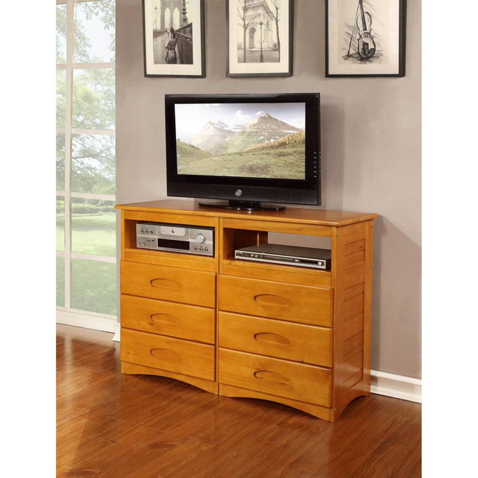 American Furniture Classics Model 2171, Solid Pine Entertainment Dresser with Six Drawers and Two Component Areas in Honey
