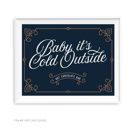 Navy Blue Art Deco Vintage Party Signs, Baby It's Cold Outside, Warm Up Here, Dessert Tale Sign, (Best Way To Warm Up Flour Tortillas)