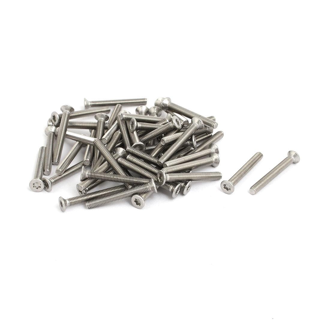 M3x25mm 304 Stainless Steel Flat Head Torx Drive Type Screw Silver Tone 50pcs - image 3 of 3