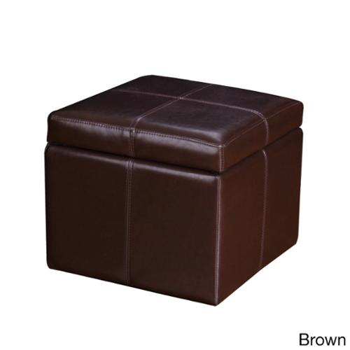 Adeco Bonded Leather Contrast Stitch Square Storage Ottoman Footstool by Overstock