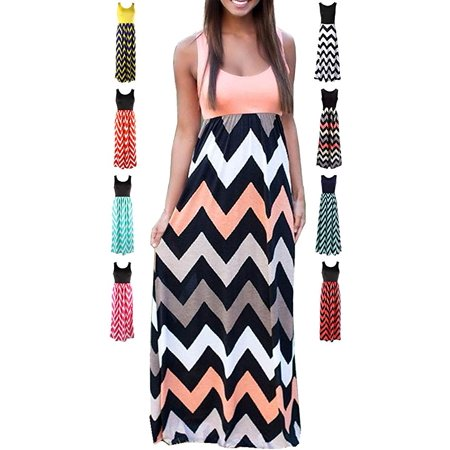 Women's Summer Chevron Striped Print Dress Tank Long Maxi Dresses Women