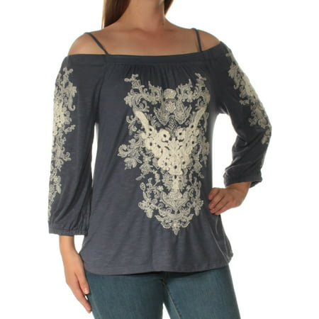 45f7b6994012 INC - INC Womens Blue Embellished Cold Shoulder Long Sleeve Square ...