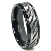Titanium Kay Black Tungsten 8MM Diamond Cut Ribbed Comfort Fit Mens Wedding Band Ring Sz 10.0