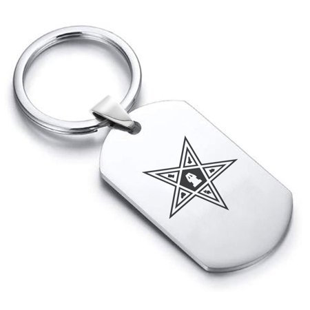 Stainless Steel Masonic Blazing Eastern Star Symbol Dog Tag Keychain Circle Ring