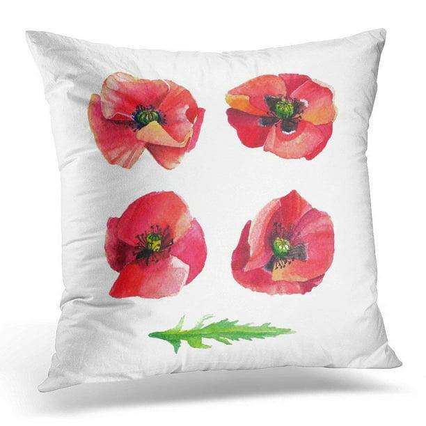 New 18 X 18 Watercolor Poppies Flower Pillow Cover Home Decor Add A Pop Of Color Home Garden Apexlab Home Décor Pillows