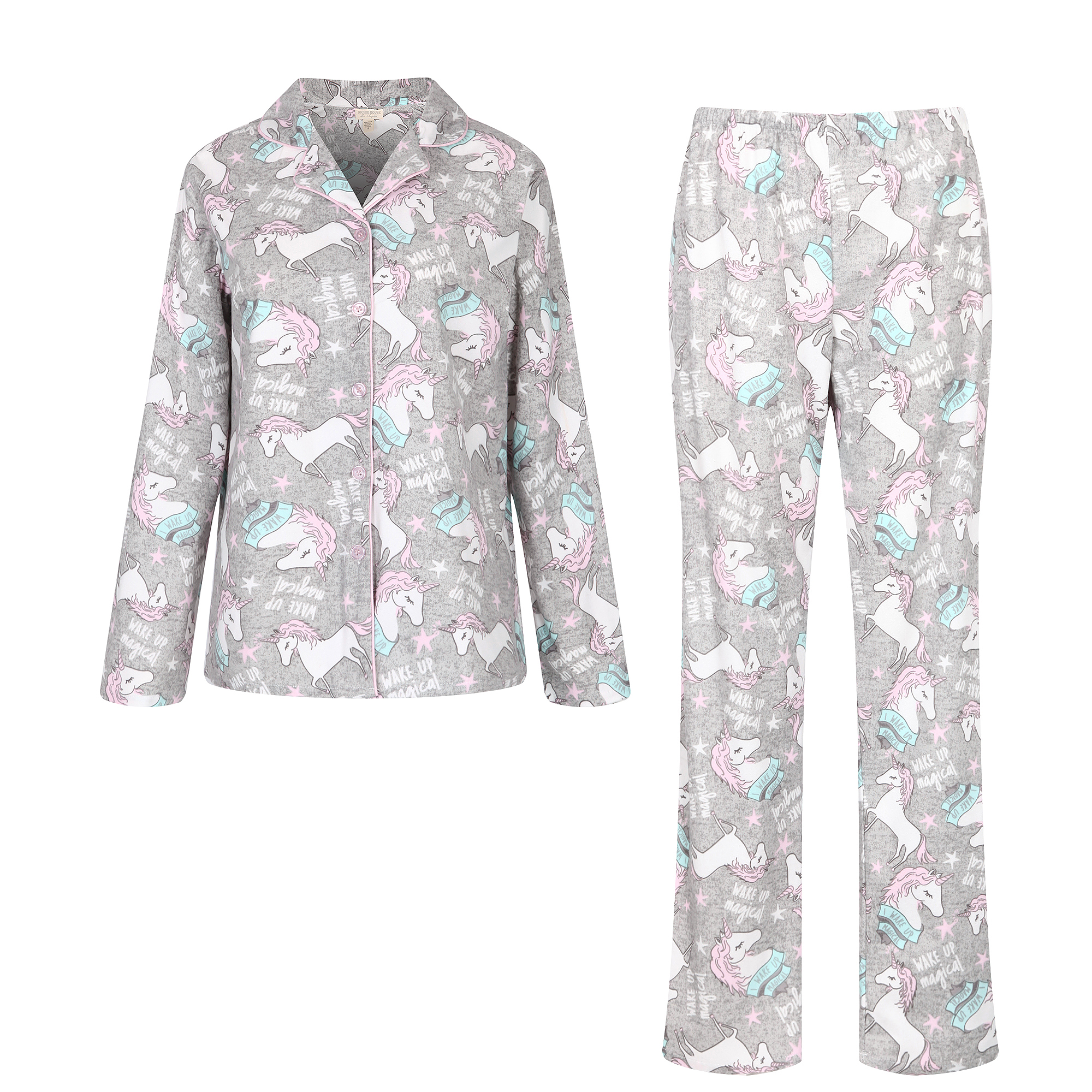 Richie House Women's Knit Flannel Pajama Sleepwear Set with Pants RHW2843