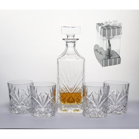 Set of 5 Bezrat Decanter and Glasses Whiskey Set-Bar Glassware Set Gifted Boxed Set Includes a Decanter with stopper and Crystal DOF Glasses FREE GIFT INCLUDED