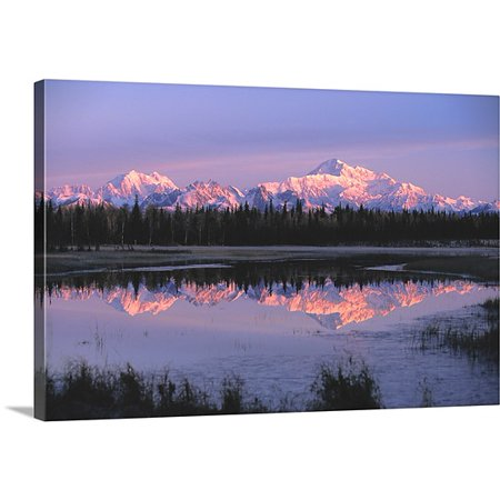 Great Big Canvas Premium Thick Wrap Canvas Entitled Southside Mt  Mckinley And Alaska Range Reflected In Unnamed Lake