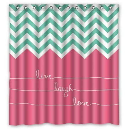 GreenDecor Hipster Quotes Live Love Laugh In Teal And Pink Chevron Zigzag Waterproof Shower Curtain Set with Hooks Bathroom Accessories Size 66x72 inches ()