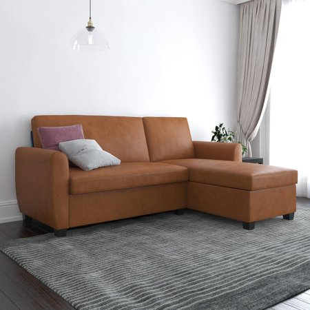 DHP Noah Sectional Sofa Bed with Storage, Twin, Camel Faux Leather Media Dark Brown Sectional Sofa