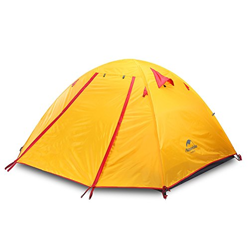 Yahill 2-3-4 Person 3 Season Backpacking Tent, Waterproof Windproof Double Layer Double Doors Double Skylight Aluminum Rod, for Camping Hiking Travel (Orange, 4 Person)