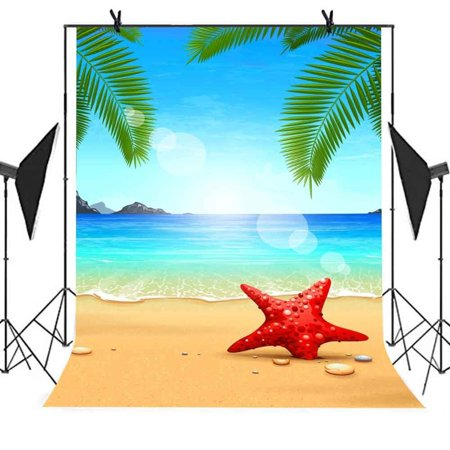 HelloDecor Polyster 5x7ft Summer Beach Photography Backdrop Starfish Coco Beach Sea Blue Sky Picture Party Photo Booth TV Wall Curtain Studio Props Background